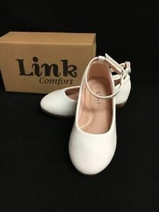 New Toddler Girl's White Flat Ballet Shoes Size 8