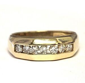 14k yellow gold .49ct diamond mens channel set wedding band ring 5.7g gents