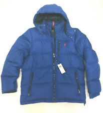 Mens Polo Ralph Lauren Royal Blue Hooded Down Filled Puffer Jacket Coat Large