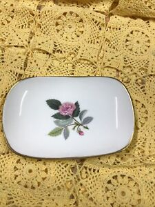 Vintage Wedgewood Hathaway Rose Rect Dish 1960's- Excellent Condition Bone China