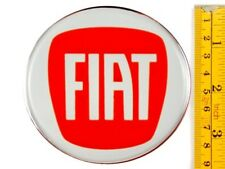 "FIAT *4 x NEW* RED Emblems 90mm (3 1/2"") WHEEL CENTER CAP STICKERS 3D DECALS"