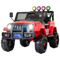 12V Kids Ride on Car Toys Electric Battery Light Suspension 3 Speed W/ RC Red