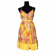 Arden B Large Dress Silk Yellow Gold Red Gray Floral Empire Pleat Sundress M LN