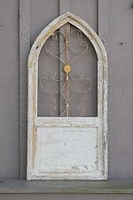 Wooden Antique Style Church Window Arched Wrought Iron Primitive Rustic Gothic a