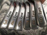 Lynx Black Cat Tour Irons RH 346789 Flare Stiff Steel Shafts Preowned