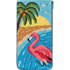 Alice Peterson Stitch & Zip Needlepoint Eyeglass Case Kit - Flamingo