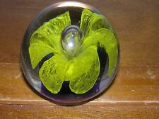 Estate Sunny Yellow Lacey Flower with Droopy Rounded Petals Round Paperweight -