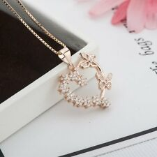 Unique New Fashion Butterfly Pendant Heart Necklace CZ Silver Rose Gold Plated