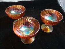 Lot of Three Iridescent Vintage Ice Cream Dessert Glassware Orange Marigold Dish