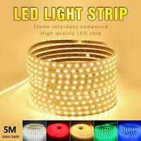 LED Strip Light 220V 5050 60leds/m Flexible tape rope Light Waterproof 5M