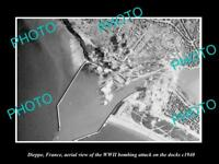 OLD LARGE HISTORIC MILITARY PHOTO DIEPPE FRANCE AERIAL VIEW WWII BOMBING c1940