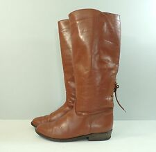 Vintage leather boots riding knee high pull on western casual brown Womens 6.5