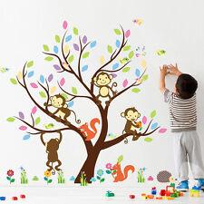 Monkeys Squirrel Tree Cartoon Wall Stickers Removable Kids Nursery