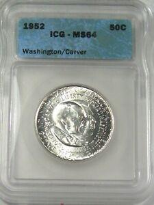 BU 1952 Silver Washington/Carver US Commemorative Half Dollar ICG MS64. #7