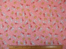 Dogs Pets Print on Pink Animals cotton fabric BY THE YARD BTY