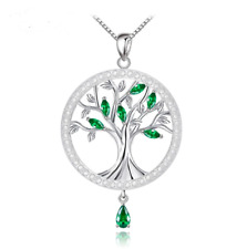 Green Tree Of Life Round Pendant Necklaces S925 Sterling Silver
