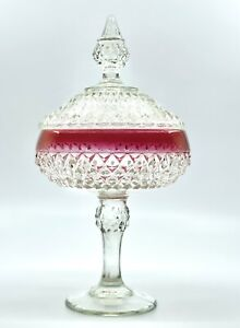 Indiana Glass Diamond Point Ruby Flash Lidded Compote/Candy Dish