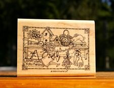Gardener Mantle Bloom Where Planted Wood Mounted Rubber Stamp 1999 Stampin' Up!