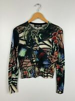 Women's Paul Smith Black Label Floral Wool Thin Knit Cardigan Jumper Size S