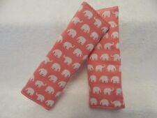 Baby Car Strap Covers Pram Capsule Highchair Stroller - Little Elephants on Pink