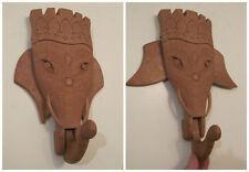vintage hand carved movable mobile wood wall hook elephant hanger rack india