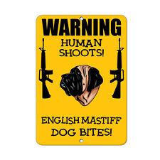 English Mastiff Dog Human Shoots Fun Novelty Metal Sign