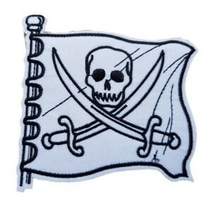 White Skull and Crossbones Pirate Flag Iron On Patch Sew On Transfer fancy Dress