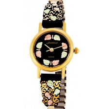 Landstrom's® Black Hills Gold Women's Black Powder Coated Watch 12K Gold Leaves