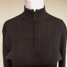 MEN'S IKE BEHAR NEW YORK SZ L Brown Rib Knit Cotton Rayon ZIP OPENING