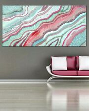 XL Pink Geode Epoxy Resin Painting Picture Canvas Sparkle Glitter Large