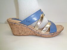 Born Size 11 M VIVARA Navy Gold Leather Wedge Heels Sandals New Womens Shoes