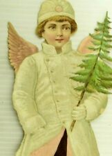 """1870's 12 3/4"""" Giant Winged Boy Christmas Angel Tree Victorian Decoration &&"""