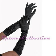 Ladies Long Black Satin Formal Ruche Gloves Rockabilly Evening Costume Accessory