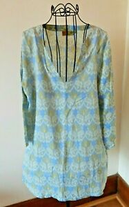 ROCK FLOWER PAPER Blue Pattern Beach Swimsuit Cover-Up Size L Good Condition