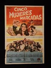 FIVE BRANDED WOMEN (1960) * VERA MILES * MANGANO * ARGENTINE 1sh MOVIE POSTER
