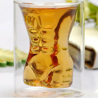 Muscle Glass Cup Double Wall Shot Bar Drink Whiskey Wine Beer Mug Glassware