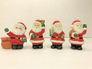 "Santa Figurines 3"" Tall Christmas Decor Collectible Set of 4 Ceramic"
