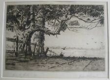 "GRAHAM HOPWOOD AUSTRALIAN FRAMED ETCHING ""OVER THE HILL"" LTD ED C 1930"