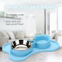 Portable Pet Water Bottle Dispenser for Dog Cat Puppy Travel Feeder Tray 2 Bowl