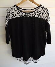 Rusty Women's Black & White Animal Print Top - Size 6
