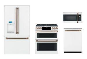 GE Cafe Matte White Kitchen Package - Refrigerator, Range, Microwave, Dishwasher