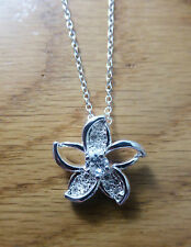 White Gold Plated Flower Crystal Pendant Necklace Jewellery Womens Ladies Gifts