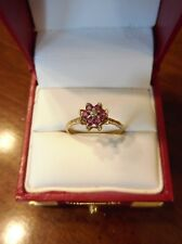 Vintage 10K Yellow Gold Ruby and Diamond Cluster Flower Ring~Size 8 (227)