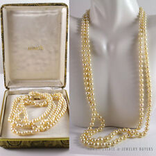 """MING'S HAWAII GRADUATED DAINTY PEARL 14K YELLOW GOLD NECKLACE 21"""" W/ MINGS BOX"""