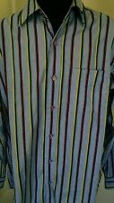 ECKO SHIRT BUTTON UP CASUAL MEN'S SIZE M BLUE MULTI-COLOR STRIPES 100% COTTON