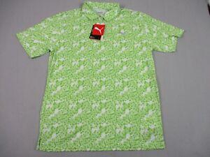 NEW Puma Eleven Polo Shirt Mens Medium Short Sleeve Golf Green Floral Golfer
