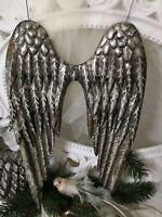 Deko Engelsflügel Silber Flügel Christmas Weihnachten Shabby Vintage 22cm Metall