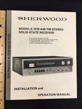 Sherwood S-7210 Stereo Receiver Original Owners Manual 19 Pages