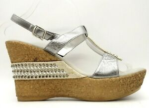 Onex Silver Leather Rhinestone Adjustable Buckle Wedge Sandals Shoes Women's 11