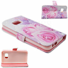 Rose Flower Print Leather Magnetic Flip Card Wallet Case Cover For HTC One M9